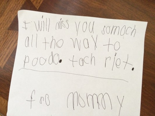 Translation:  I will miss you so much all the way to Pluto. That's right.  For Mommy.